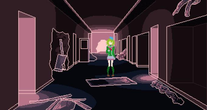 荒れた廊下にたたずむカンナ