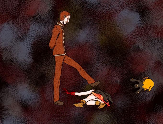 ノエルの頭を蹴り飛ばす受付人形