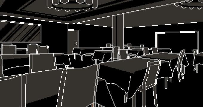 真っ暗な食堂