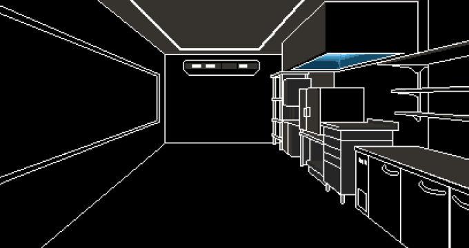 真っ暗な調理室