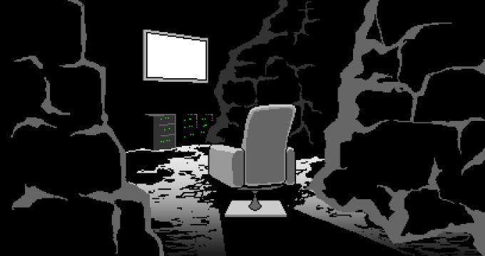 モニターが光るガレキの部屋