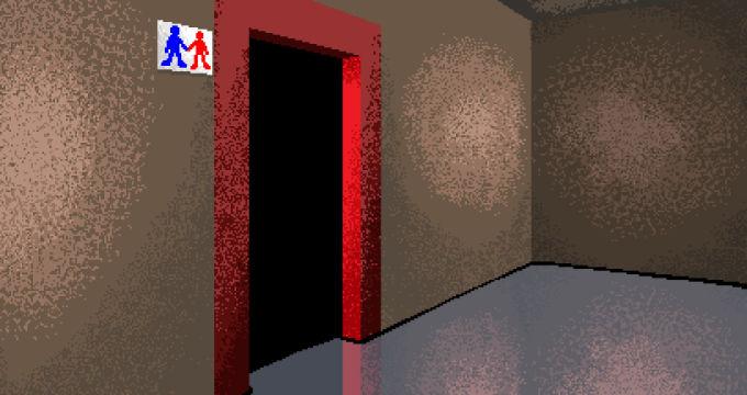 開いた赤いドア
